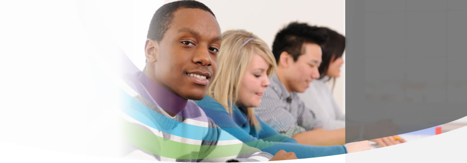 Image of a young man in class.